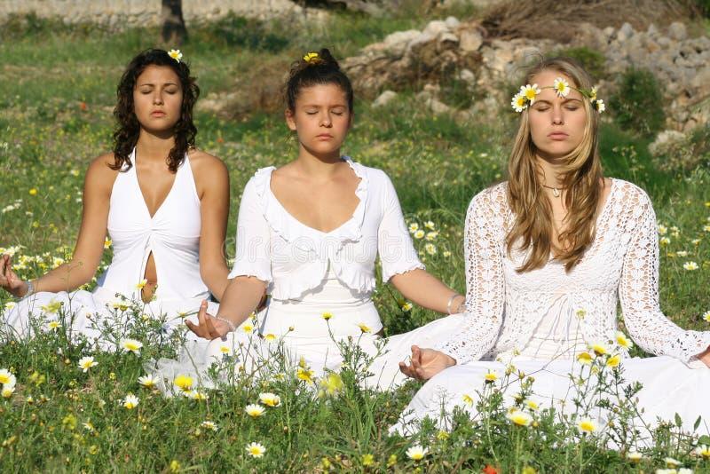 De klasse van de yoga stock afbeelding