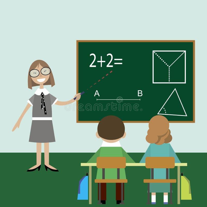 De klasse van de de kinderenles van de leraarswiskunde stock illustratie