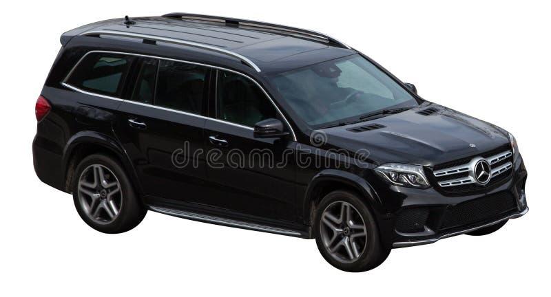 De klassenzwarte van Mercedes gl op een transparante achtergrond stock afbeelding