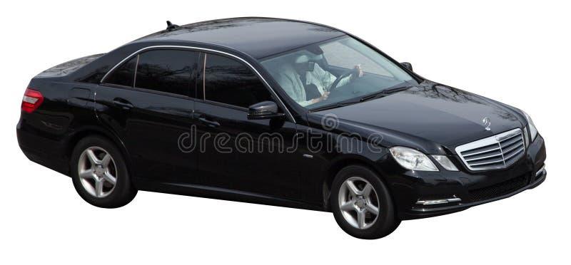 De klassenzwarte van Mercedes s op een transparante achtergrond stock foto's