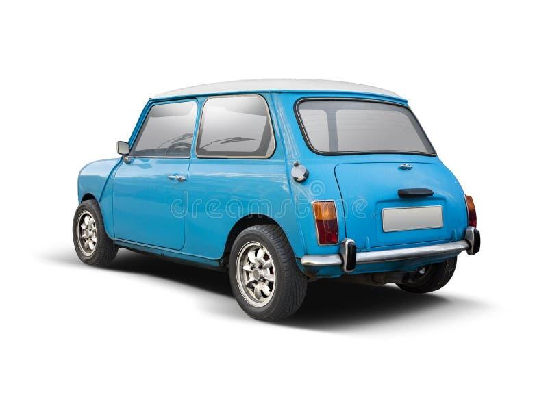 De klassieke achterdiemening van Mini Cooper op wit wordt ge?soleerd stock afbeeldingen