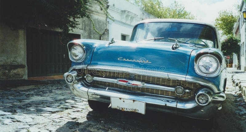 De klassieke Amerikaanse auto van Montevideo stock foto's