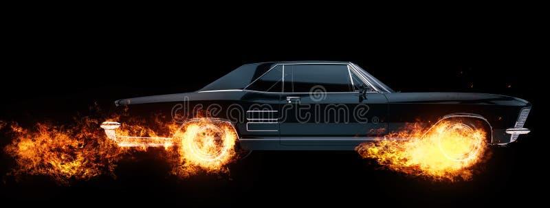 De klassieke Amerikaanse wielen van de spierauto op brand royalty-vrije illustratie