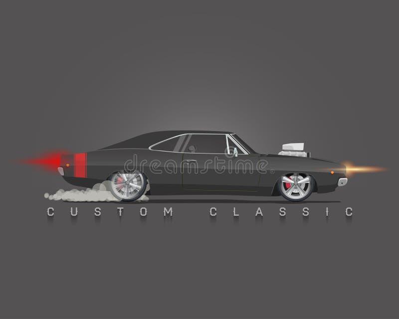 De klassieke auto van de jaren '70spier Hoog gedetailleerde vectorillustratie vector illustratie