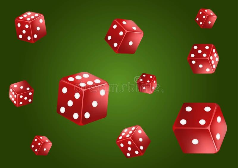 De klassieke groene achtergrond van de casinopook Rood vallen dobbelt, geïsoleerd Het concept van het spel Vector illustratie vector illustratie