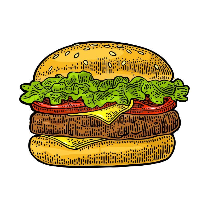De klassieke hamburger omvat kotelet, tomaat, komkommer, salade Vector uitstekende gravure vector illustratie