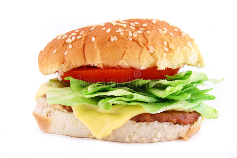 De klassieke Hamburger van het Rundvlees stock fotografie