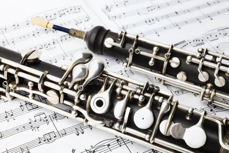 De klassieke hobo van muziekinstrumenten stock afbeeldingen