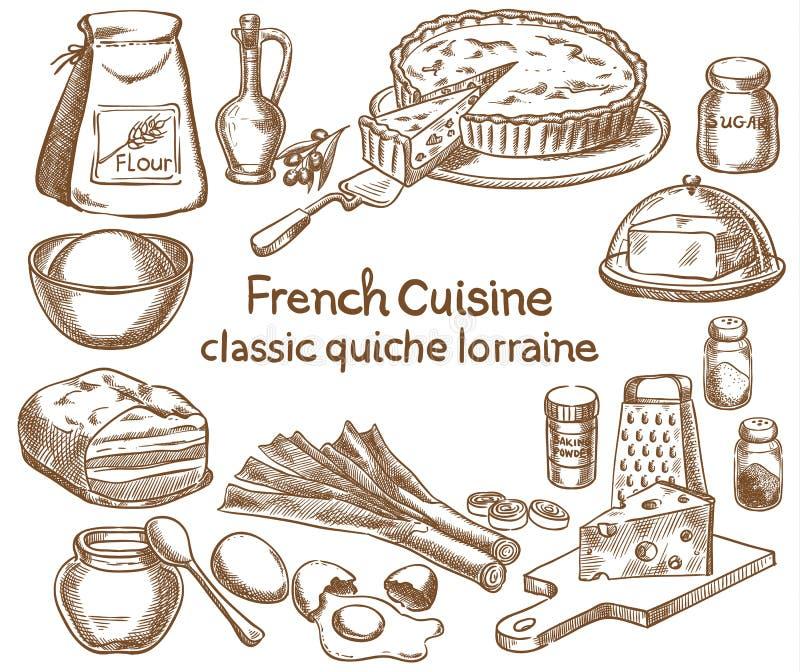 De klassieke ingrediënten van quichelotharingen stock illustratie
