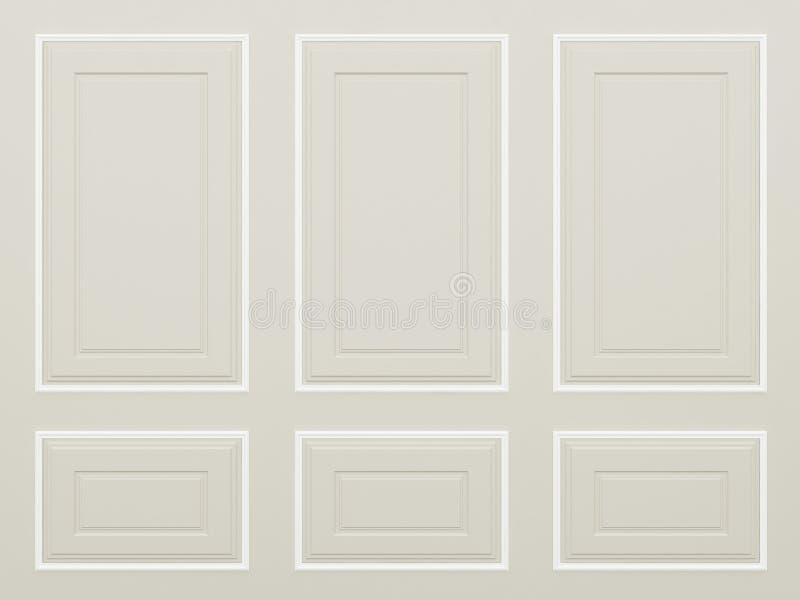 De klassieke lichtbruine 3d muur, geeft terug stock fotografie