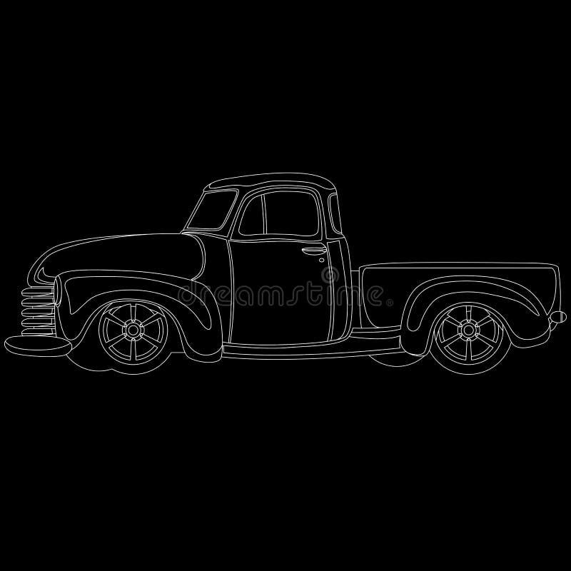 De klassieke lijn van de pick-up uitstekende vectorillustratie royalty-vrije illustratie