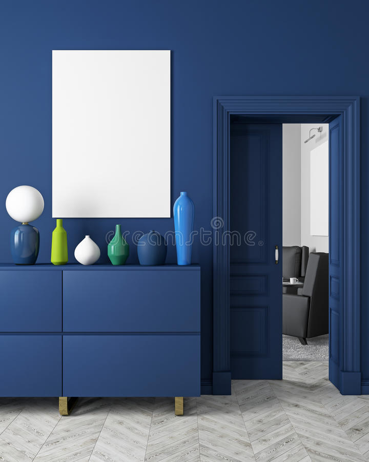 De klassieke, moderne, Skandinavische binnenlandse spot van de stijl donkerblauwe kleur omhoog 3d geef illustratie terug stock illustratie