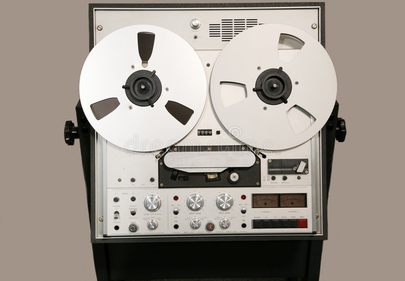 De klassieke Open AudioBandrecorder van de Spoel stock fotografie