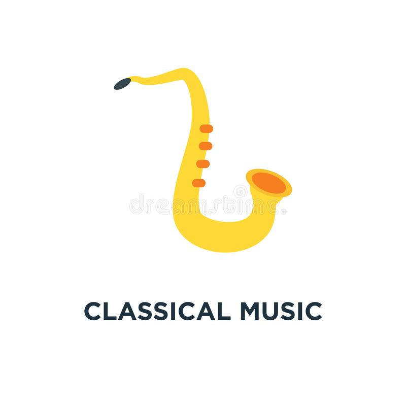 De klassieke saxofoon van het muziekblaasinstrument blauwpictogram lafbek of j royalty-vrije illustratie