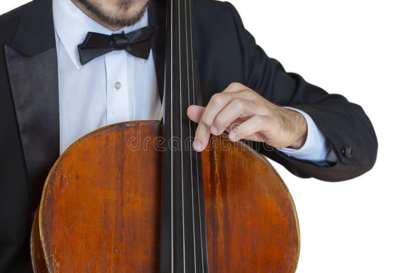 De klassieke de speler solo prestaties van de muziek professionele cello, handen sluiten omhoog royalty-vrije stock afbeelding