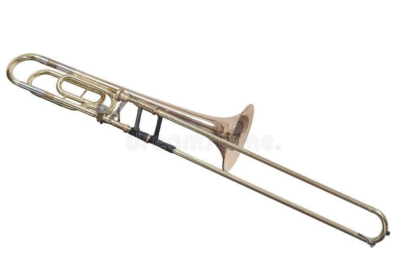 De klassieke trombone van het messings muzikale instrument die op witte achtergrond wordt geïsoleerd royalty-vrije stock foto
