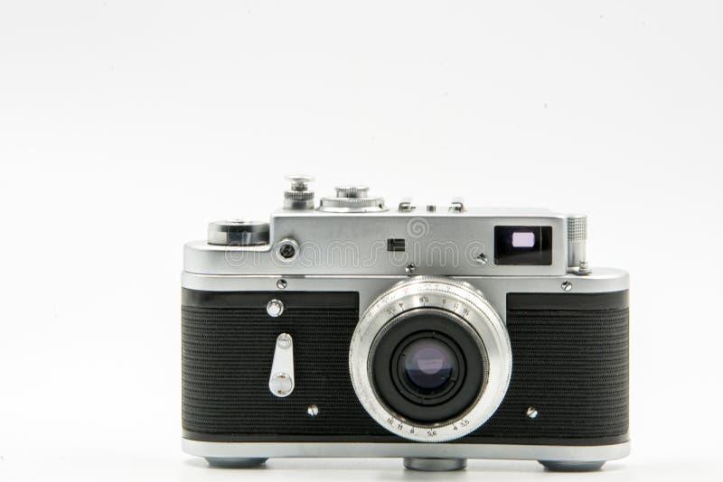 De klassieke Uitstekende Oude die Camera van de Afstandsmeterfilm op witte achtergrond wordt geïsoleerd royalty-vrije stock foto