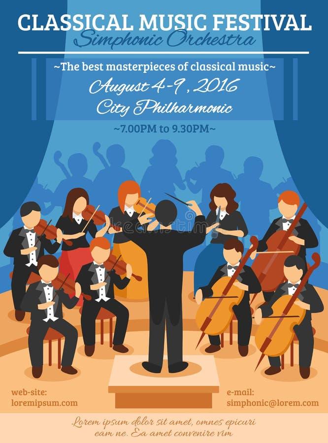 De klassieke Vlakke Affiche van het Muziekfestival vector illustratie