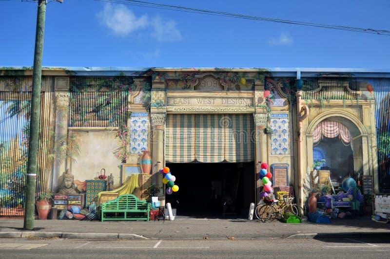 De klassieke winkel van het de bouwmeubilair op Marine Terrace-weg bij Fremantle-havenstad in Perth, Australië stock afbeelding