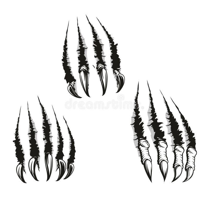 De klauwen van het monsterdier en krassen, vector vector illustratie