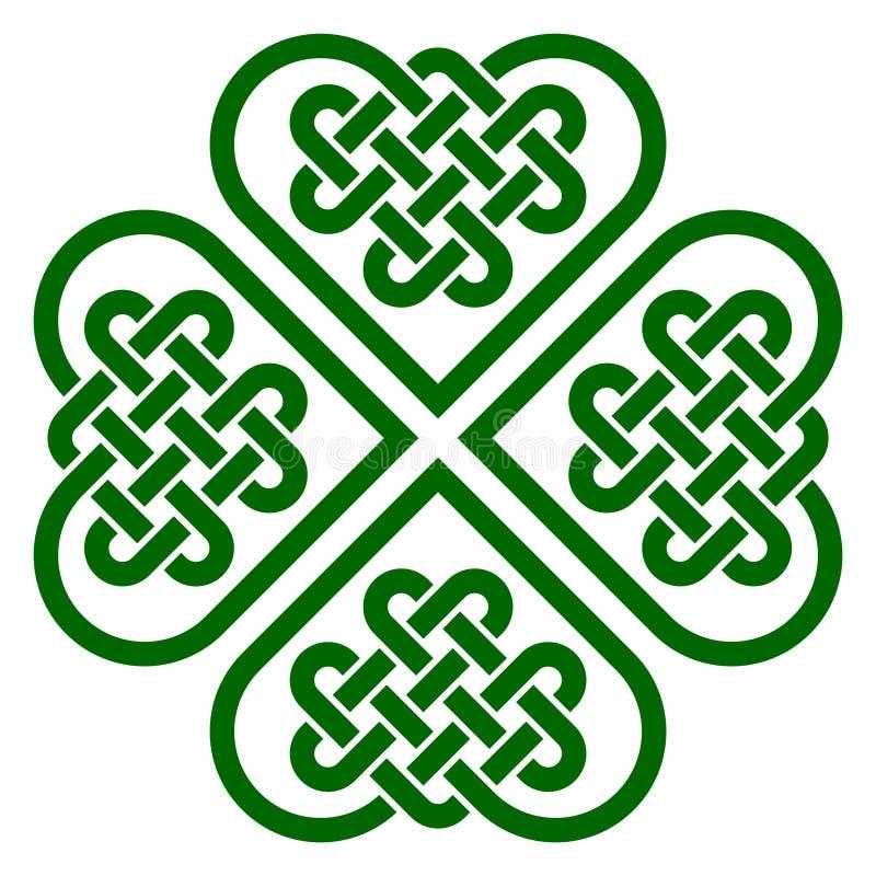 De klavertjevier gaf knoop gestalte van de Keltische knopen die van de hartvorm wordt gemaakt royalty-vrije illustratie