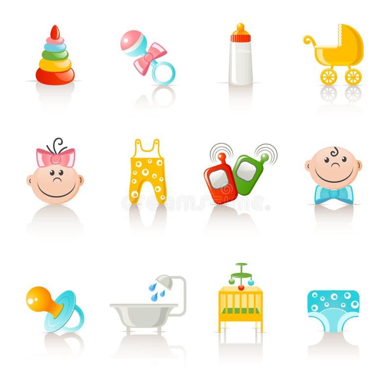 De kleding van de baby en toebehorenpictogrammen vector illustratie