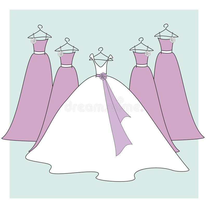 De Kleding van de bruid en van Bruidsmeisjes royalty-vrije illustratie