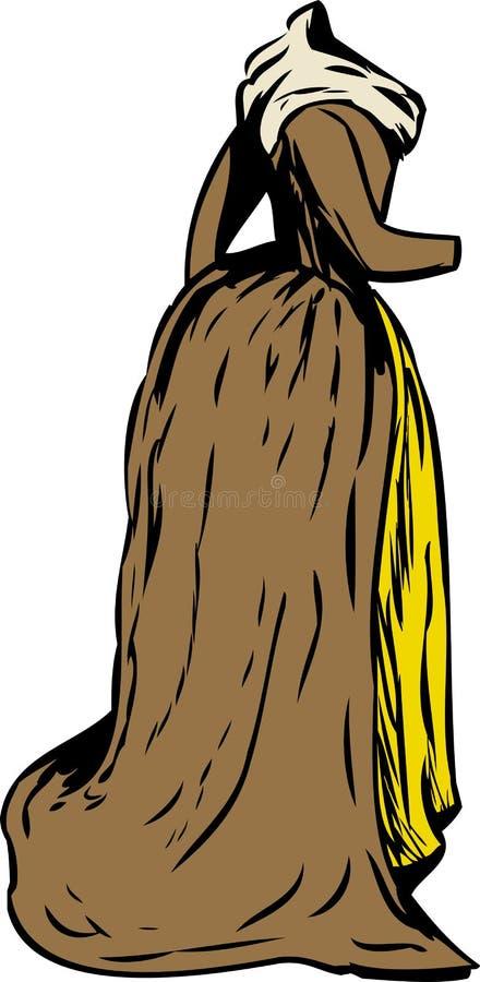 de Kleding van de de 18de Eeuwera met Sjaal royalty-vrije illustratie