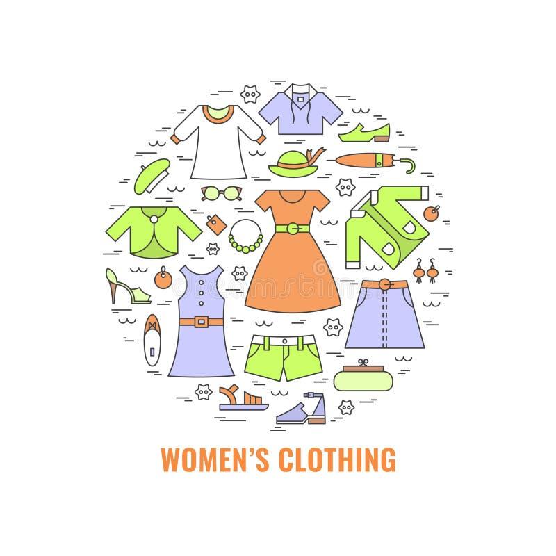 De kledingsconcept van kleurenvrouwen stock afbeelding