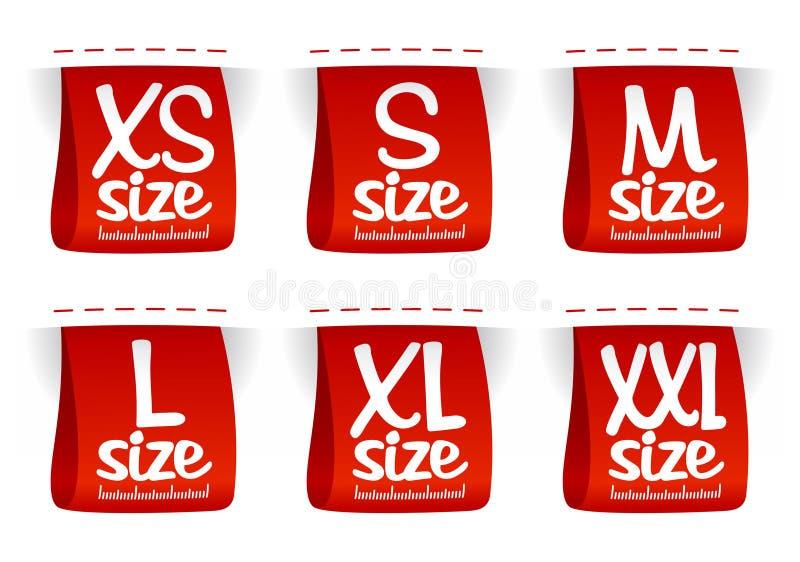 De kledingsetiketten van de grootte. stock illustratie
