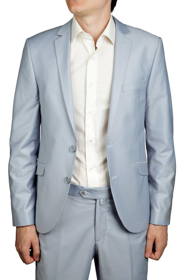 De kledingskostuum van Prom van mensen, Lichtblauwe Pastelkleurblazer en broeken royalty-vrije stock afbeelding