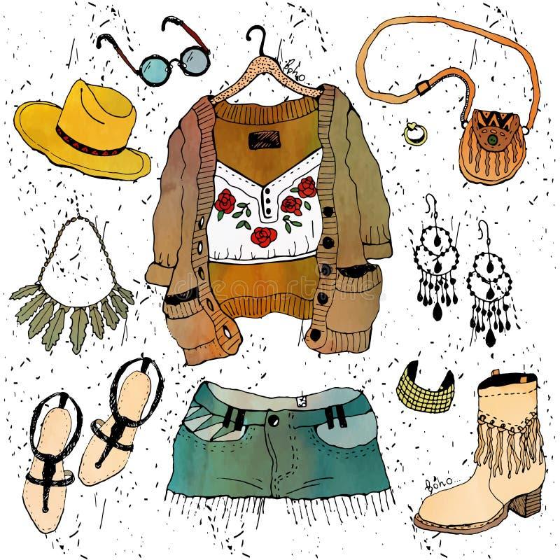De kledingsreeks van de manierillustratie stock illustratie