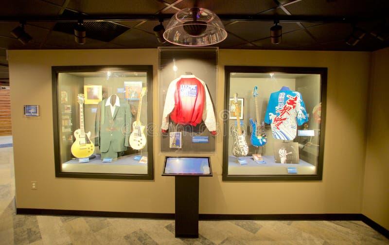 De kledingsvertoning van de blauwkunstenaar bij het Blauwhall of fame die Memphis, TN inbouwen stock foto