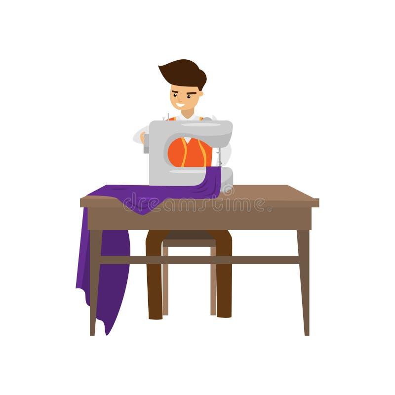 De kleermaker naait kleren op naaimachine op witte achtergrond wordt geïsoleerd die stock illustratie