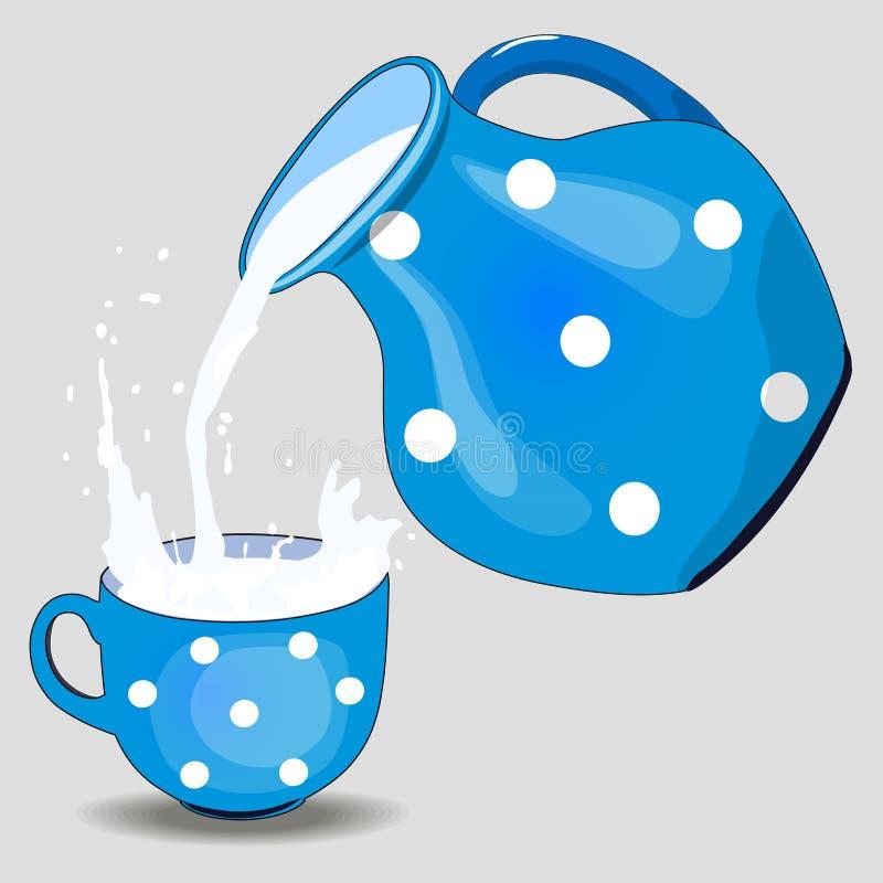 De kleikruik van melk en een mok, melk giet Ge?soleerdj op witte achtergrond Illustratie royalty-vrije illustratie