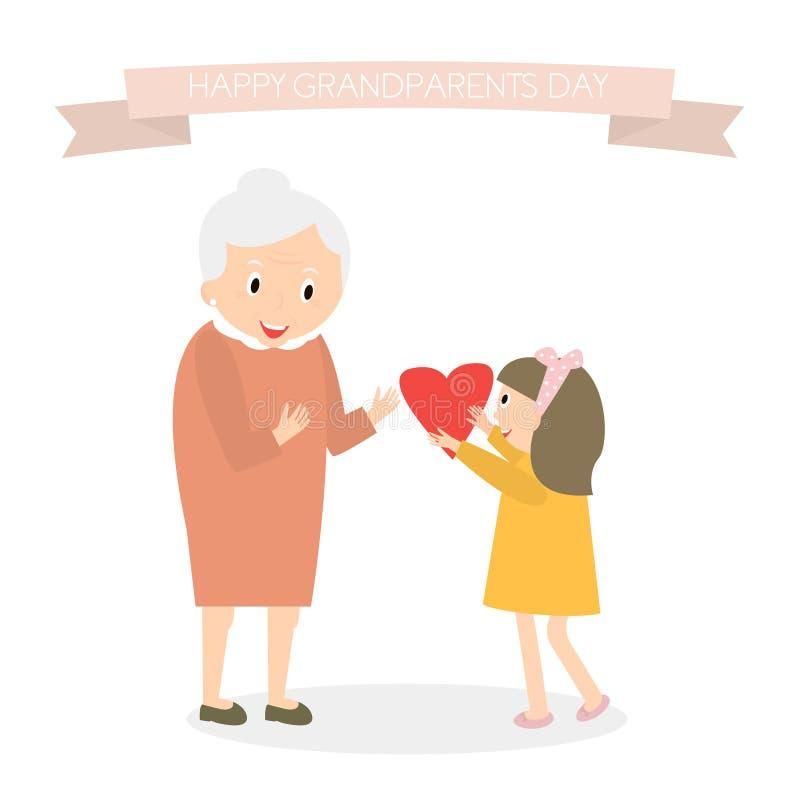 De kleindochter geeft hart aan grootmoeder Gelukkige de groetachtergrond van de grootoudersdag Vector illustratie vector illustratie