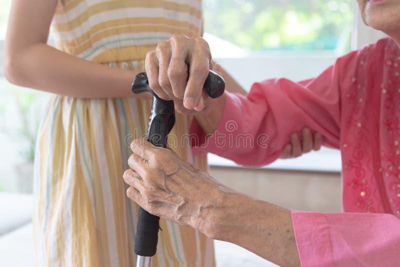 De kleindochter neemt zorg haar grootmoeder voor het lopen, familie en s stock foto