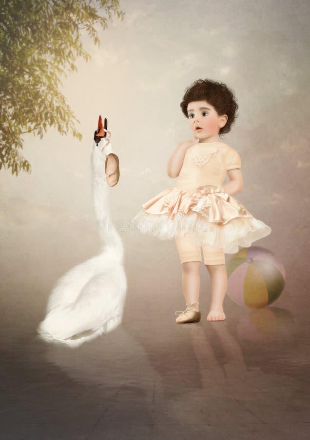 De Kleine Ballerina en de Zwaan royalty-vrije stock afbeelding