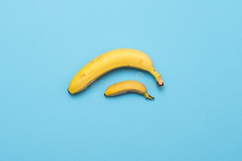 De kleine banaan vergelijkt grootte met banaan op blauwe achtergrond het concept van de groottepenis royalty-vrije stock foto