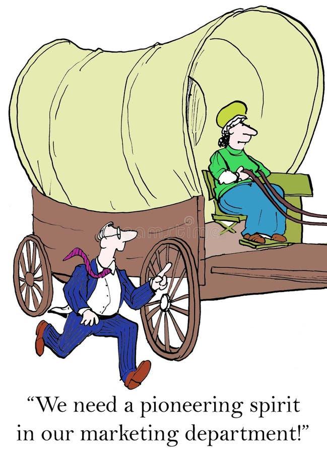 De kleine bedrijfsman wil een pioniersvrouw inhuren vector illustratie