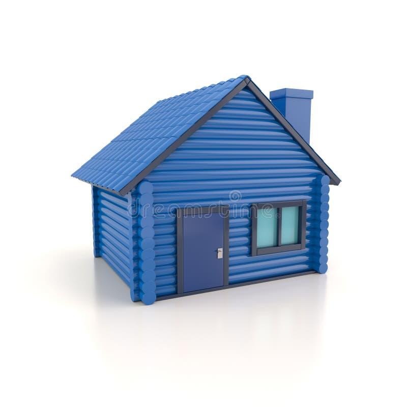 De kleine blauwe 3d illustratie van het huispictogram stock illustratie