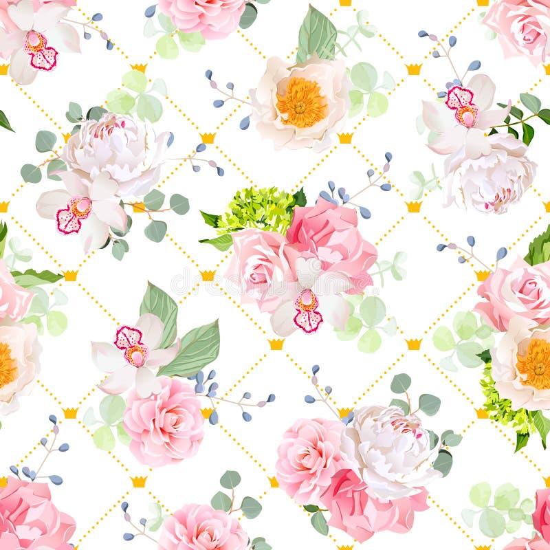 De kleine de lenteboeketten van roze, pioen, camelia, orchidee, anjer, hydrangea hortensia, blauwe bessen en eucaliptis gaat weg vector illustratie