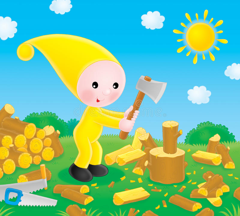 De kleine gnoom hakt het brandhout royalty-vrije illustratie