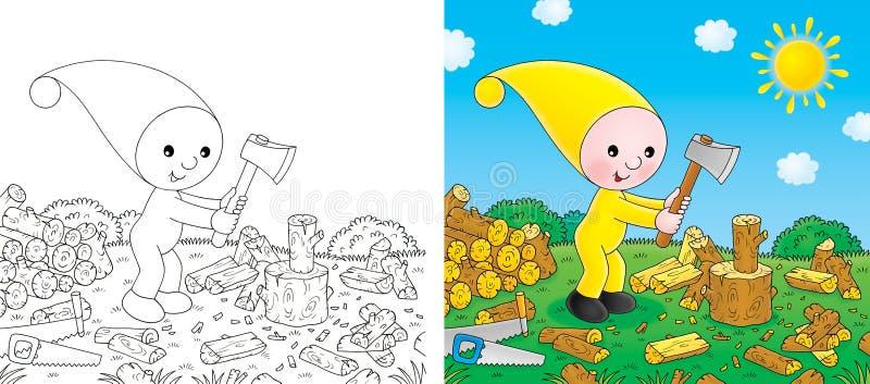 De kleine gnoom hakt het brandhout stock illustratie