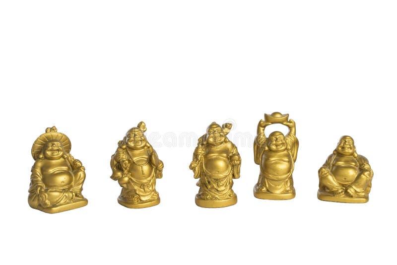 De kleine gouden die standbeelden van Boedha op witte achtergrond worden geïsoleerd stock illustratie