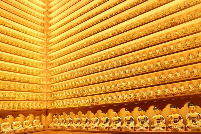 De kleine gouden standbeelden van Boedha bij de Yakchunsa-Tempel royalty-vrije stock afbeeldingen