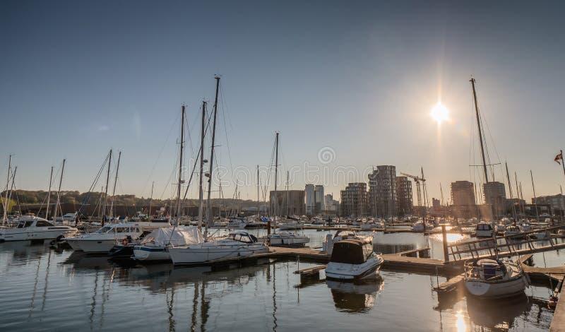 De kleine haven van het jachthavenjacht in Vejle, Denemarken royalty-vrije stock foto