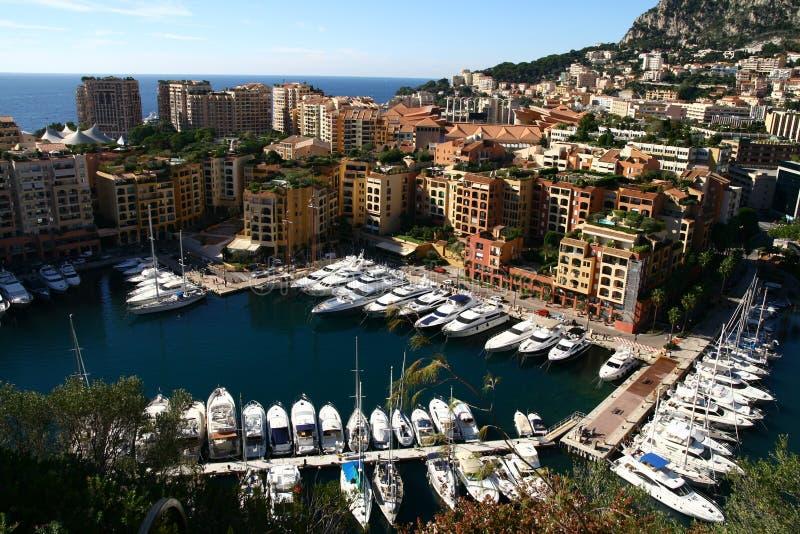 De kleine haven van Monaco stock afbeeldingen
