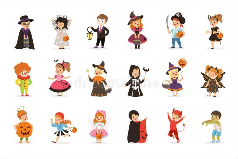 de kleine jonge geitjes van Ute in kleurrijke Halloween-geplaatste kostuums, Halloween-kinderentruc of het behandelen van vectori royalty-vrije illustratie