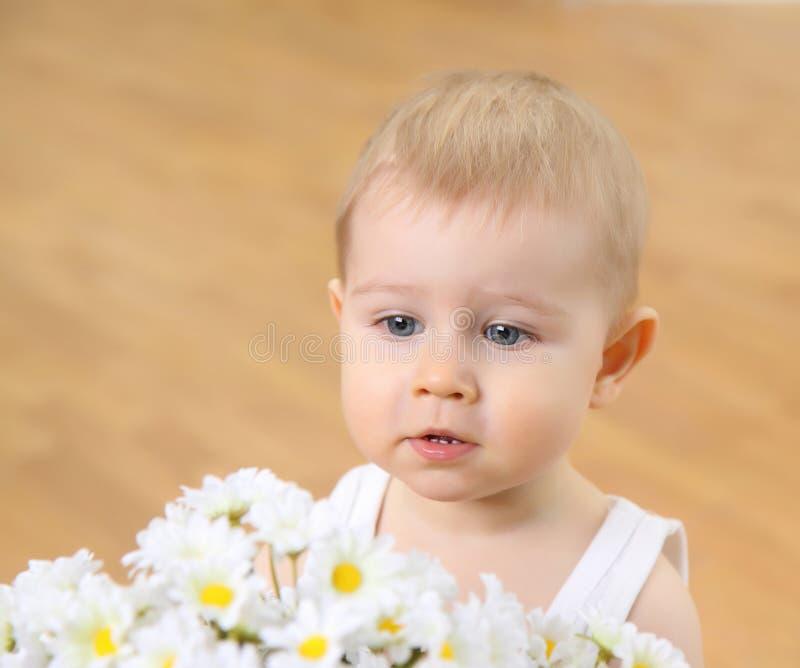 De kleine jongen met camomiles royalty-vrije stock afbeelding